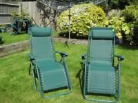 Garden Recliner chairs. Hardly used. Good condition.