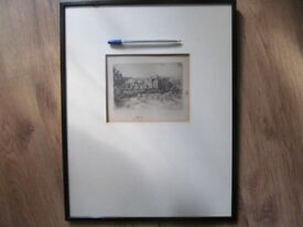 Antique Etching Sir Walter Scott's House, signed