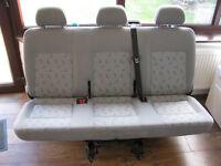VW T5 Transporter Bench Rear Triple seat Quick Release + Seat Belts