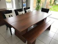 Solid Wood Dining Table With 5 Chairs