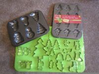 2 metal Christmas cake tins - new approx 17 metal Christmas themed cutters (mostly unused)