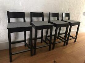 4 Bar Stools * Chairs * with backrest * grey felt seat * steel footrest * Ikea