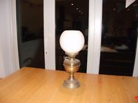 Antique Brass Oil Lamp with White Shade