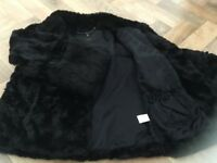 Coast Short Black 3/4 Length Sleeves Faux Fur Jacket (Excellent Condition)