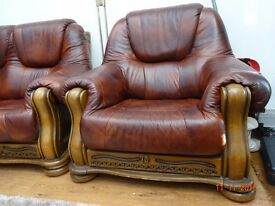 Leather sofas, hardly used, 3+2+1