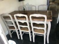 Shabby chic 6 seater table and chairs