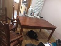 Dining table, solid wood, beautiful varnish, newly refurbished, with 5 chairs