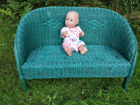 Wooden and wicker couch