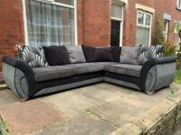 Beautiful Dfs Black Leather and Grey Fabric Corner Sofa