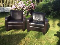 Two leather armchairs in good condition