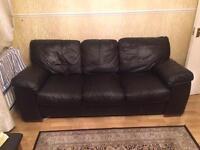 Black Leather Sofa 3 seater + 2 Seater