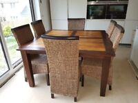 Solid Wooden Dining Table and Six Chairs