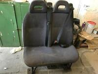 Double rear van seat with belts