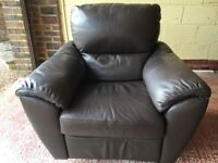 2 LEATHER ARMCHAIRS - MANUAL - RECLINES, SWIVELS AND ROCKS - £150 EACH