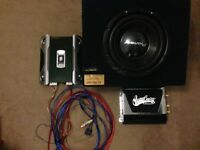 """12"""" Pioneer subwoofer with JBL & Westcoast Customs amplifiers. Wiring included. Plug and play."""