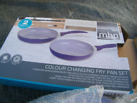 Pair coloured frying pans - New and unwanted gift.