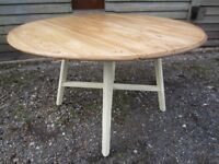 Beautiful Solid Elm Ercol Drop-Leaf Extending Dining Table Painted Farrow & Ball - Osmo Polyx Oil