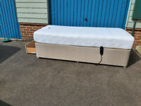 Single electric adjustable bed with storage drawer and mattress
