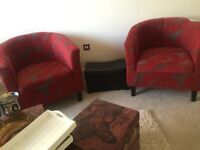 Beautiful brand new pair of red arm chairs for quick sale