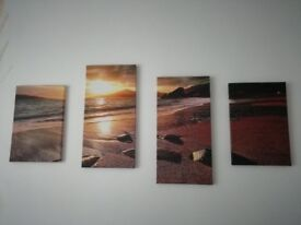 Canvas Picture of Calm Sea and Sunset (Cluster of 4)