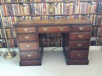 Edwardian dark solid wood leather top pedestral writing desk £249 ono