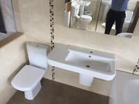 NEW Designer basin and semi ped with toilet and soft closing seat