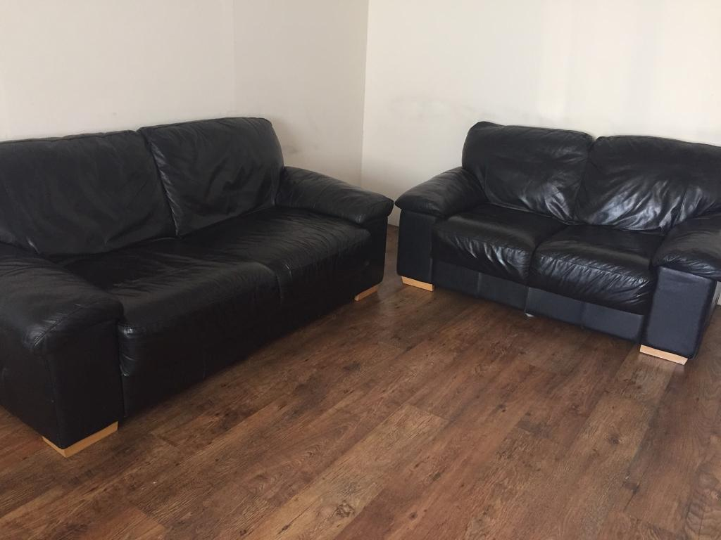 Black genuine leather 32 seater sofasin Newcastle, Tyne and WearGumtree - Black genuine leather 3 & 2 seater sofas. In good and clean condition. Very comfortable and solid. No rips, tears or any damages. From none smoking home. Dimensions 3 seater 190cm x 90cm. 2 seater 150cm x 90cm. Can deliver for fuel costs