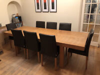 Habitat light wood (birch) dining table with two extension sections and 8 choc brown leather chairs