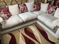 Gorjeous designer fabric and leather corner sofa like new!