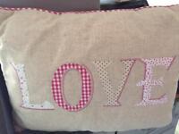 """Next """"love"""" appliqué cushion"""