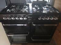 Dual fuel 8 ring burner range oven
