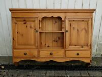 solid pine 2 door, 3 draw wall hung shelf unit