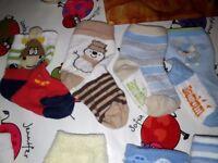 13 pairs of baby socks c. 7-8 cm heel to toe