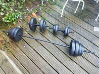 Weights - Pro Fitness Vinyl Barbell Dumbbell Set - 50kg
