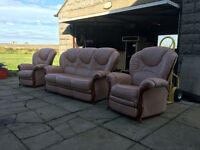 Salmon Italian leather recliner suite DELIVERY AVAILABLE