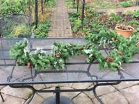 Christmas garlands & wired assorted silk flowers