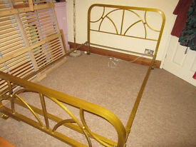 Vintage mid-20th C metal double bed frame, art deco style, continental. Good condition.