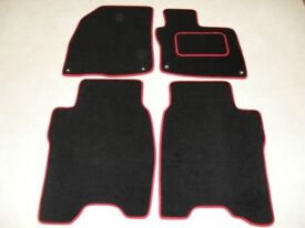 Honda Civic 2008-2012 Fully Tailored Fit Car Mats in Black with Red trim.