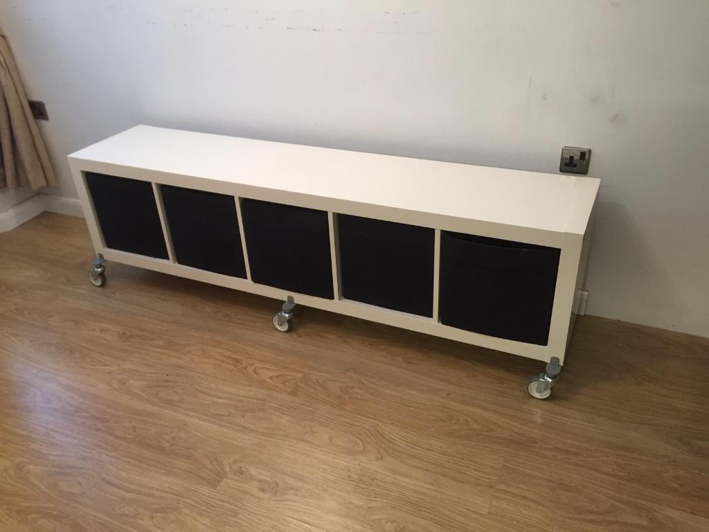 ikea kallax storage unit with boxes and on wheels in bletchley buckinghamshire gumtree. Black Bedroom Furniture Sets. Home Design Ideas
