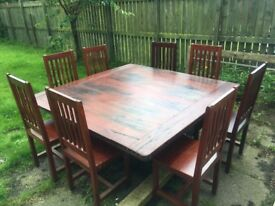 Teak Railway sleeper dining table