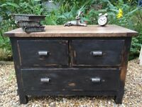 Upcycled Vintage Painted Shabby Chic Chest of Drawers in Annie Sloan Graphite