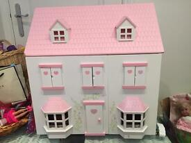 Beautiful pink Wooden dolls house
