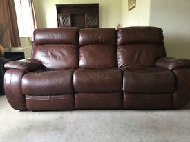 Brown Leather Three Seat Electrically Reclining Sofa