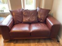 Free 2 x Brown Leather Sofas