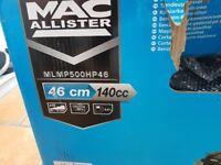 Petrol lawn mower, mac allister 46cm cut brand new in box.