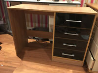 Kidspace Desk/Dressing Table, Oak Effect With 4 Black Gloss Drawers, Brand New Ready Assembled
