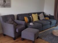 Nearly new - Grey Ikea Sofa set with pull out bed and ottoman for storage