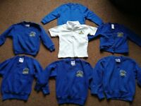 Bundle of Westfield School uniform jumpers, polo shirt and cardigan Age 3-4 years