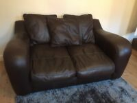 Chocolate brown leather sofa in v good condition