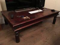 Dark solid oak large coffee table